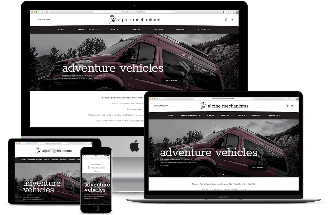 alpine mechanisms responsive website design