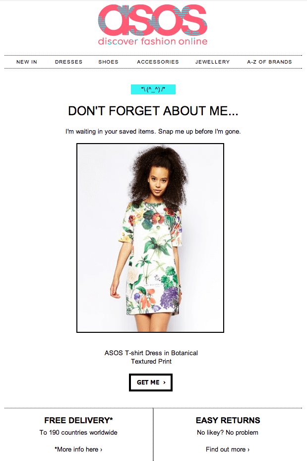 shoppers asos abandoned cart email