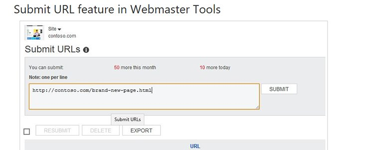 Bing Webmaster Tools- Submit URL