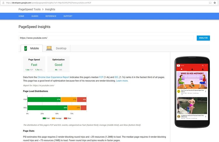 Page speed insight report