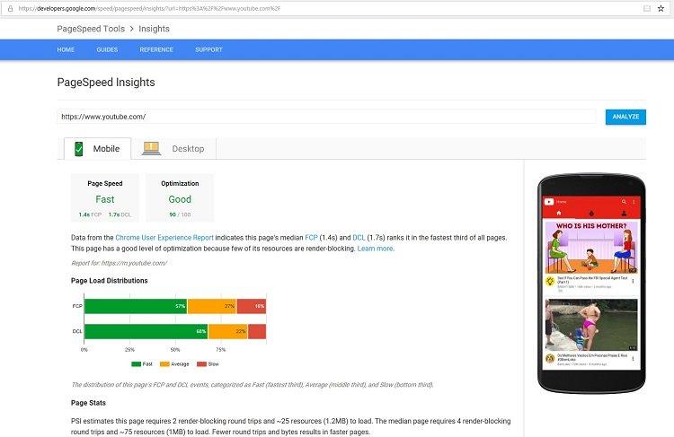 google desktop page speed test results