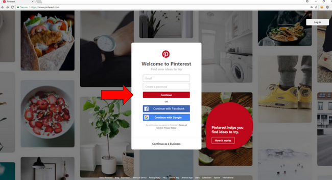 Pintrest account set up- step 1