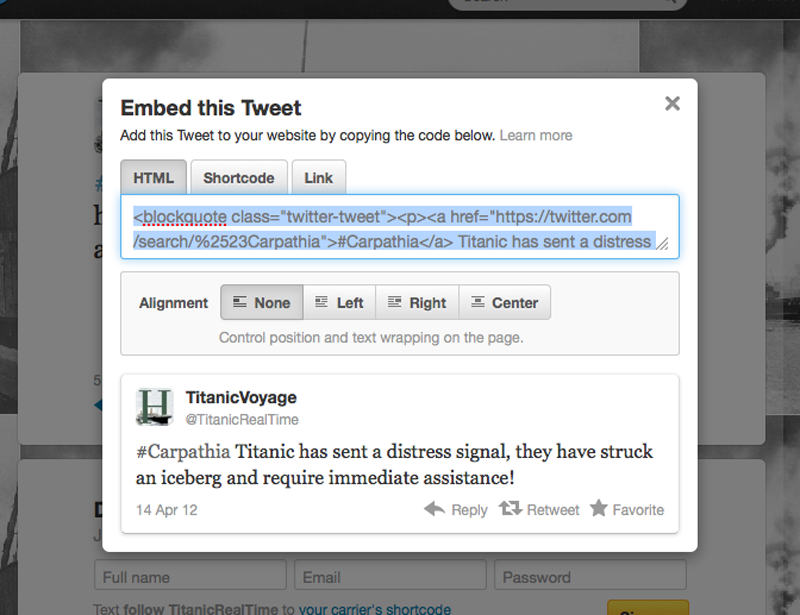 Twitter Feed Code Snipet