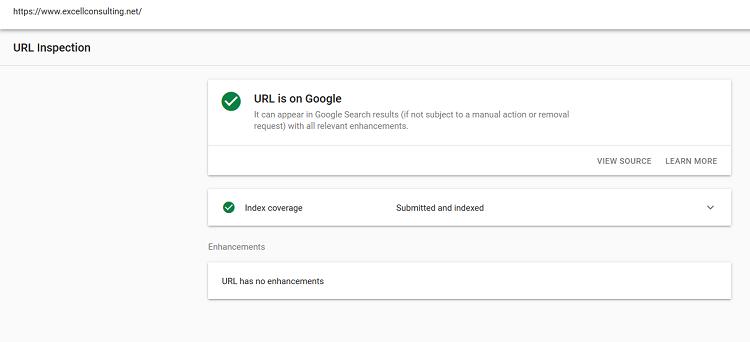 url inspection report screenshot