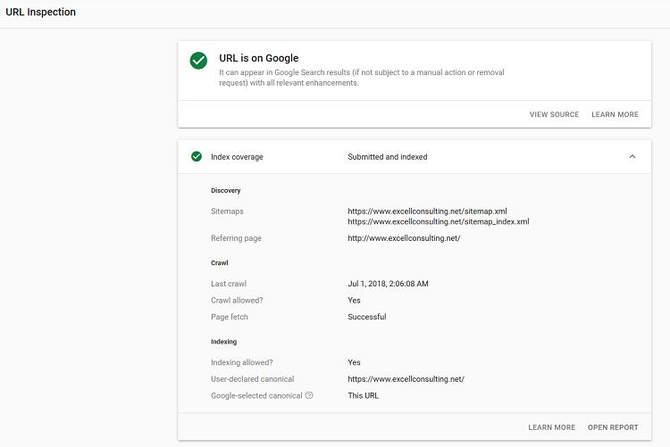 url inspection report detail screenshot